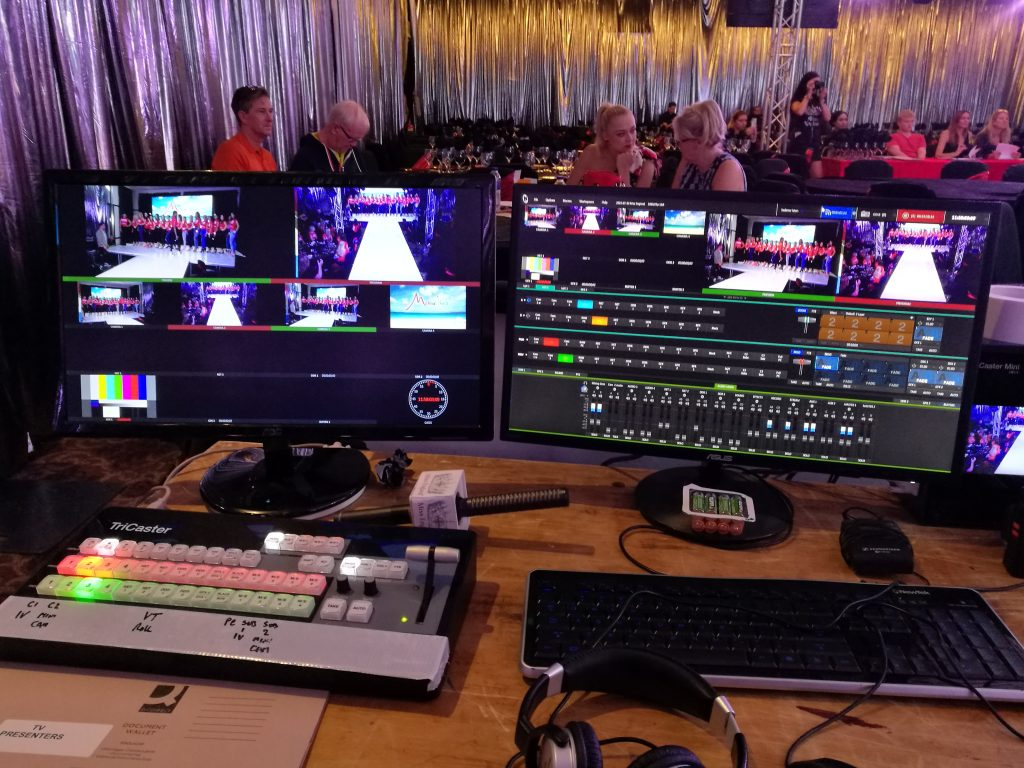 An image consisting of monitors among other technology that we use for event capture and livestreaming at corporate events.